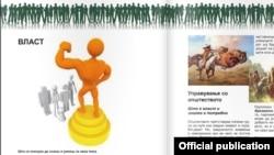 """Илустрација за терминот """"власт"""" во учебникот по Граѓанско образование за 8 одделение во 2014 година"""