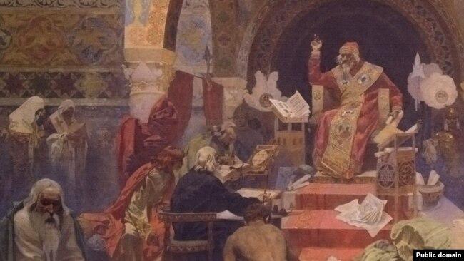 """Фрагмент от картината """"Цар Симеон български"""" (1923 г.)."""