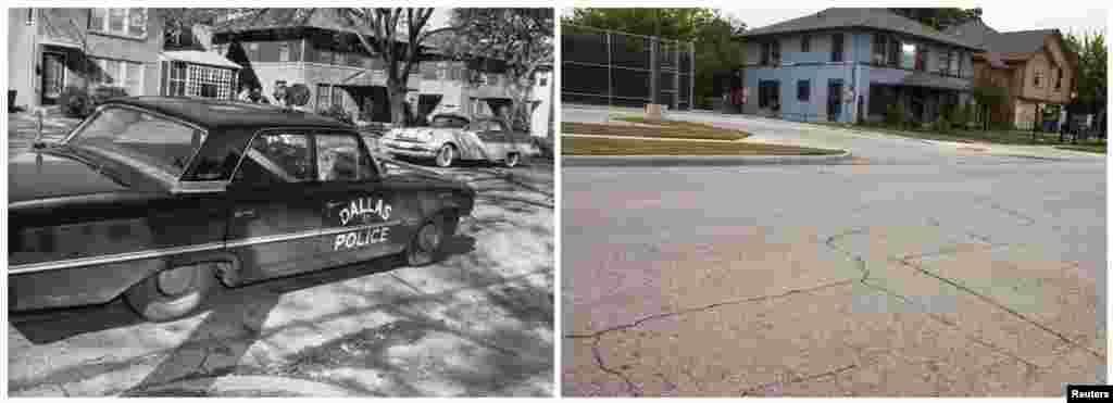Left photo: A Dallas Police Department vehicle parked in the 400 block of 10th Street in the Oak Cliff neighborhood of Dallas in 1963, where police officer J. D. Tippit was killed by Lee Harvey Oswald. Right photo: The same spot on November 8, 2013.