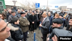 Armenian presidential candidate Raffi Hovannisian campaigns in Armavir Province on February 13.