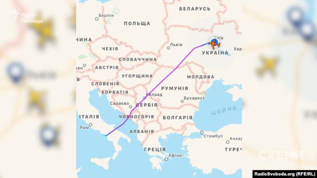Маршрут літака Cessnа із Неаполя до Києва