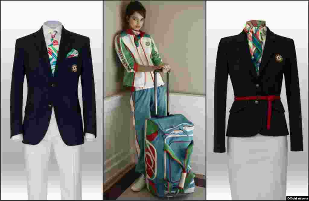 Italian fashion label Ermanno Scervino designed Azerbaijan's formal wear, rumored to be the most expensive of the ceremonial uniforms. The designs incorporate the colors, crescent moon, and eight-pointed star of Azerbaijan's flag.