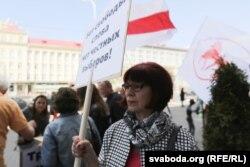 Людміла Мірзаянава. 2015 год. На выбарчым пікеце АГП.