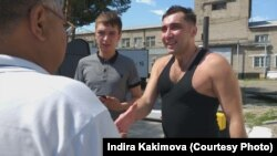 Civil activist Vadim Kuramshin (right) after his release from prison near Ust-Kamenogorsk on August 17.