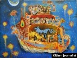 Art painting of uzbek artist Shuhrat Babadjanov