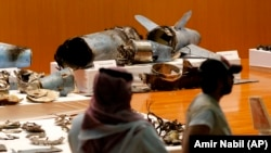 The Saudi military displays what they say are an Iranian cruise missile and drones used in recent attack on its oil industry at Saudi Aramco's facilities in Abqaiq and Khurais, during a press conference in Riyadh, September 18, 2019