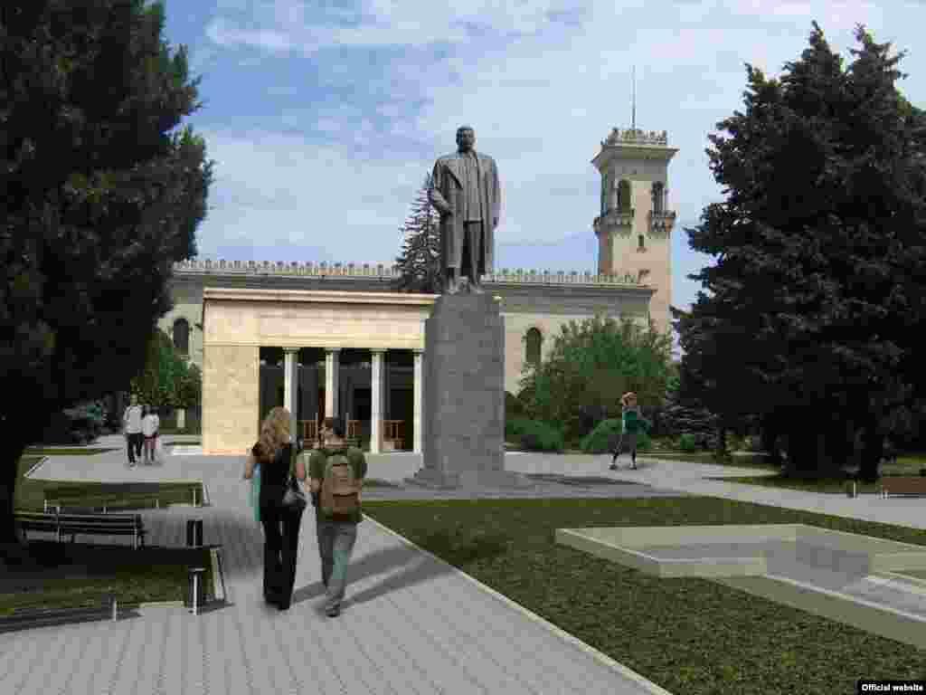 І дочекалася: проект відновлення пам'ятника Сталіну, тільки тепер перед будинком-музеєм Сталіна в Горі