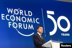 Президент України Володимир Зеленський під час виступу на Всесвітньому економічному форумі в Давосі, 22 січня 2020 року