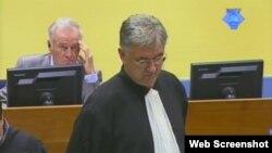 Ratko Mladić iza branitelja Branka Lukića u haškoj sudnici, 18. rujan 2012.