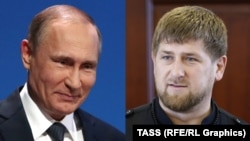 "The Chechens urge Russian President Vladimir Putin (L) to ""crack down"" on Chechen leader Ramzan Kadyrov ""and those like him, who subject the freedom-loving Chechen people to humiliations never seen before."""