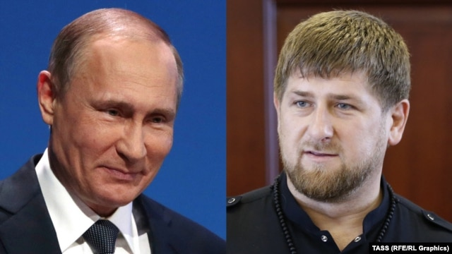 """The Chechens urge Russian President Vladimir Putin (L) to """"crack down"""" on  Chechen leader Ramzan Kadyrov """"and those like him, who subject the freedom-loving Chechen people to humiliations never seen before."""""""