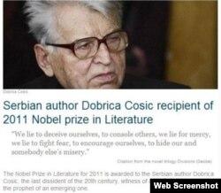 Falsifikat o dodeli Nobela Dobrici Ćosiću