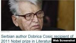 A screenshot of a hoax website that declared Serb nationalist Dobrica Cosic the winner of this year's Nobel Prize in Literature.