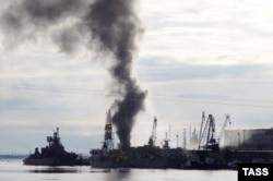 """Пожар на подводной лодке """"Орел"""" в Северодвинске;, 7 апреля 2015"""