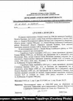 Архівна довідка про майновий статус родини Гордійчуків у с. Новий Мосир (Волинь)