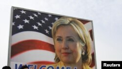 A billboard with a photo of U.S. Secretary of State Hillary Clinton in Pristina, the Kosovar capital