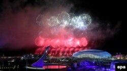 Церемония закрытия Олимпийских игр в Сочи на стадионе «Фишт». 23 февраля 2014 года.