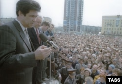 1991 год, Аман Тулеев и Борис Ельцин на первомайском митинге в Новокузнецке