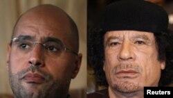 Ливийский лидер Муамар Каддафи и его сын