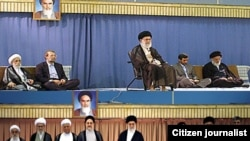 The supreme leader's endorsement of Mahmud Ahmadinejad as president, 2009 (top) and 2005, with former Presidents Rafsanjani and Mohammad Khatami in attendance.