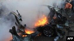 Авто, в якому був Ахмед аль-Джаабарі, після повітряного удару Ізраїлю, 14 листопада 2012 року