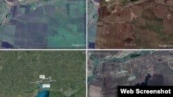 На супутникових знімках видно, що прикордонний із Україною полігон «Кузьминський» з'явився в Росії між жовтнем 2013 і жовтнем 2014 рр. Скріншоти