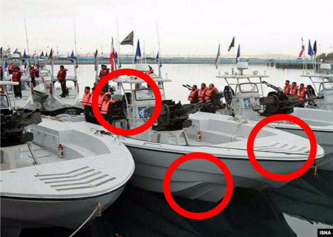 Screen Grab From video showing Iranian speed boats during a March 2016 ceremony