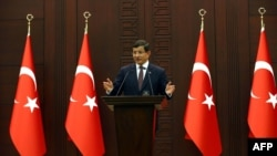 Turkey -- Turkish Prime Minister Ahmet Davutoglu speaks during a press conference in Ankara, September 7, 2015