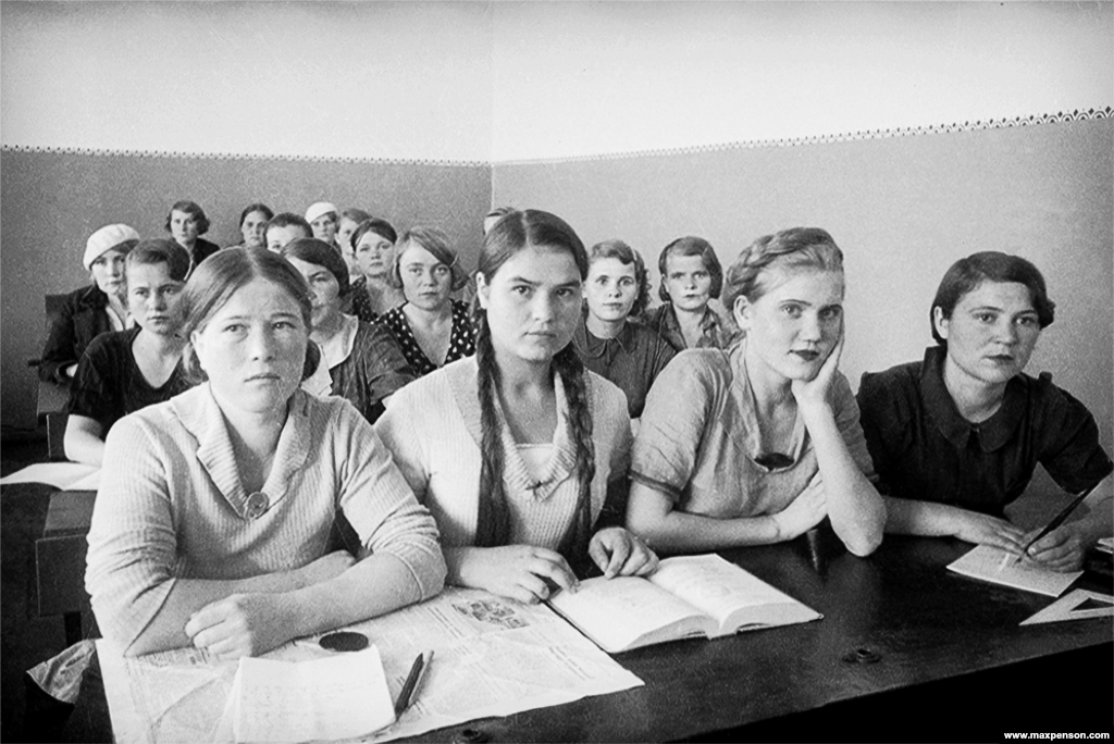 Girls in a classroom in Tashkent. Penson began his new life in Central Asia as an art teacher.
