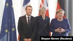 Ֆրանսիայի նախագահ Էմանուել Մակրոնը, Մեծ Բրիտանիայի վարչապետ Թերեզա Մեյը և Գերմանիայի կանցլեր Անգելա Մերկելը մասնակցում են Եվրոպական միություն-Արևմտյան Բալկաններ գագաթնաժողովին, Սոֆիա, 17 մայիսի, 2018թ.