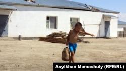 Мальчик несет емкость для воды в поселке Комекбаева, где нет центрального водоснабжения. Кызылординская область, 16 июля 2013 года.