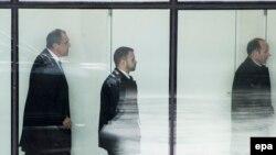 Министр иностранных дел России Сергей Лавров прибыл на встречу с государственным секретарем США Джоном Керри в Цюрихе 20 января 2016 года
