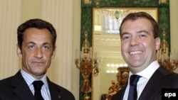 Николя Саркози и Дмитрий Медведев, август 2008 года