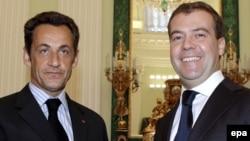 Президент Франции Николя Саркози и президент России Дмитрий Медведев после подписания соглашения по конфликту России и Грузии. Москва, август 2008 года.
