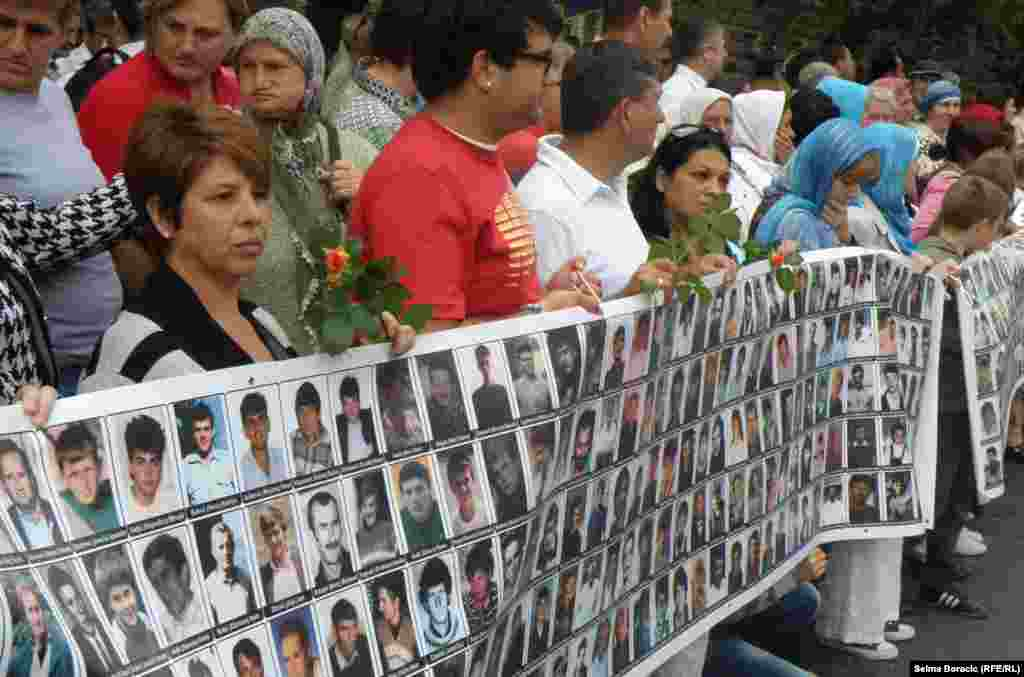 Pictures of hundreds of those killed in the 1995 massacre.