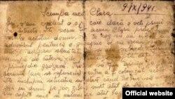 Detaliu al primei pagini a scrisorii Idei Goldiș (Expoziția online Yad Vashem)