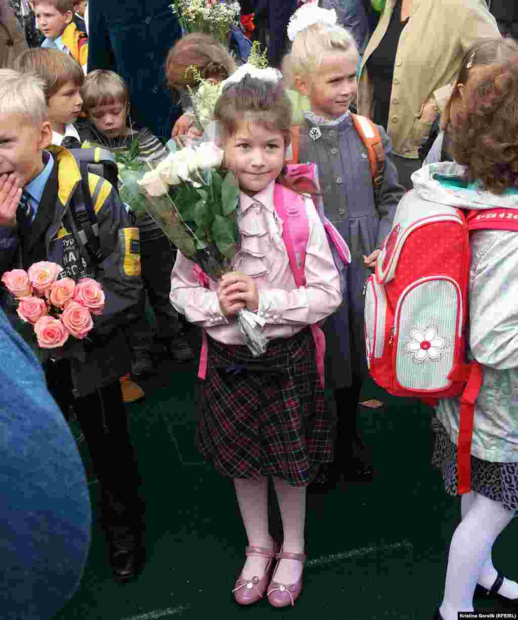 Skirts or ties are in vogue for these kids in Moscow.