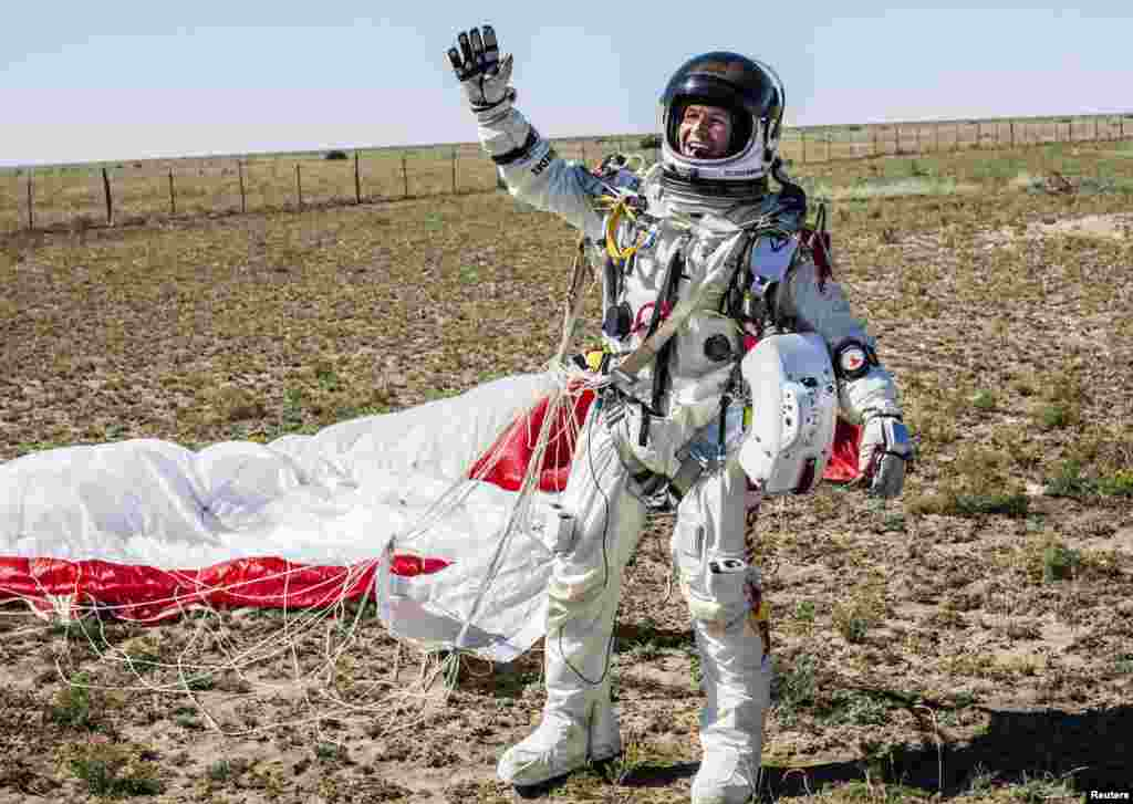 Baumgartner landed more than 60 kilometers from where he took off.