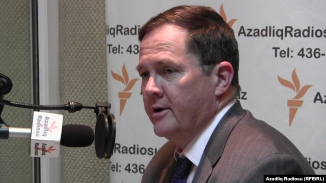 U.S. Assistant Secretary of State Thomas Melia in RFE/RL's Baku bureau in April 2013