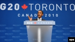 U.S. President Barack Obama delivers remarks at a press conference at the conclusion of the G20 summit in Toronto on July 27.