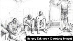 Малюнак мастака Сяргея Захарава, які пабываў у палоне ў сэпаратыстаў