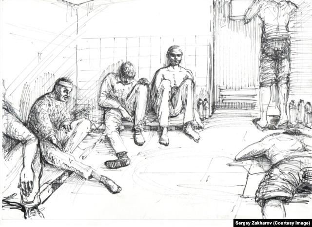 В тюрьме ДНР. Рисунок Сергея Захарова