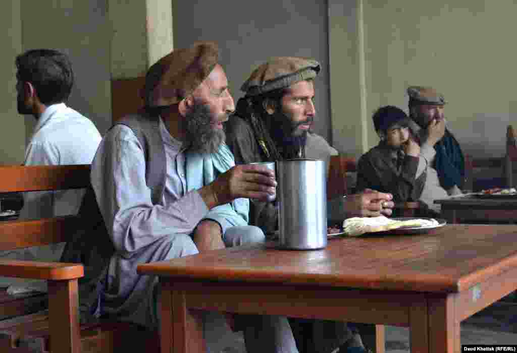 Local Muslim men inside a teahouse near the Kalash villages. Khattak said the future appears shaky for Kalash culture, particularly with the issue of Islamic schooling, and terrorism.