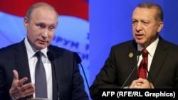 Комбинированная фотография президентов России и Турции – Владимира Путина и Реджепа Эрдогана