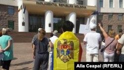 Imagine generică de la un protest din fața Parlamentului
