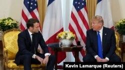 Эммануэль Макрон и Дональд Трамп на совместной пресс-конференции, Лондон, 3 декабря 2019