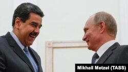 Russian President Vladimir Putin (right) meets with Venezuelan President Nicolas Maduro in Moscow on October 3, 2017.