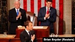 Франция президенті Эммануэль Макрон АҚШ Конгресінде сөйлеп тұр. Вашингтон, 25 сәуір 2018 жыл.