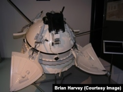 Brian Harvey's photo of a model of the Mars 2 and Mars 3 landers on display in Moscow's Museum of Cosmonautics in 2009. He said he was prevented from taking a similar photo during a visit to the Soviet Union in 1988.