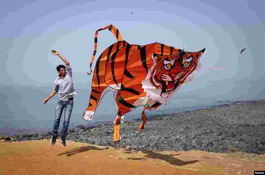A participant flies a tiger-shaped kite during the International Kite Festival in Mumbai, India. (Reuters/Danish Siddiqui)
